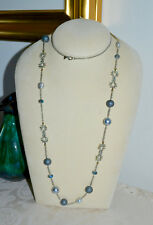 NWT $295 ALEXIS BITTAR Elements Grey Pearl Station Necklace Crystal Pave 42 in