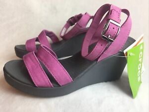 NEW Crocs Leigh Womens 8 EU 38 / 39 Sandals Wedge Heels Wild Orchid Purple Shoes