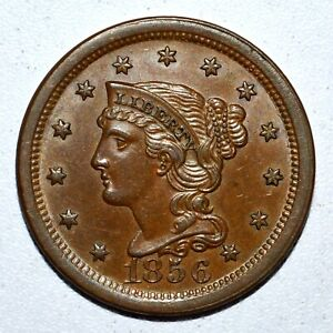 1856 BRAIDED HAIR LARGE CENT ✪ UNCIRCULATED UNC DETAILS ✪1C L@@K NOW ◢TRUSTED◣