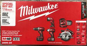 "Milwaukee 2696-25 5 Tool Combo Kit 1/4"" Impact Circ Saw Sander Worklight NEW"