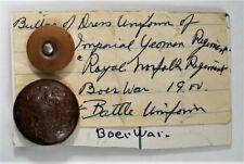 Vintage Uniform or Coat Button BOER WAR Imperial Yeoman Royal Norfolk Regiment