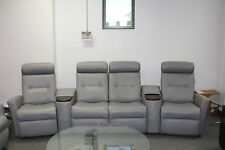 Fjords Madrid Cinema 4 Seat Power Reclining Sofa Recliner AstroLine Soft Grey