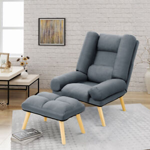 Upholstered Comfy Fabric Armchair Sleeper Chair Sofa Recliner Lounge with Stool