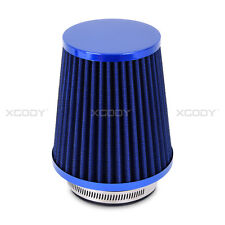 Fits 3 Inch Chrome Inlet High Flow Short Cold Intake Round Cone Blue Air Filter