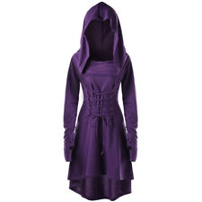 US Halloween Women Gothic Lace Up Hooded High Low Dress Slim Long Coat Hoodies
