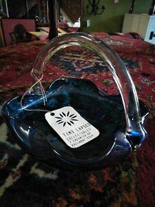 Beautiful Blue Art Glass Basket