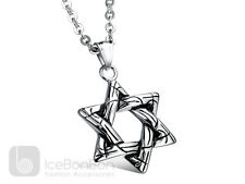 Star of David Stainless Steel Pendant Necklace Chain Unisex - USA Seller