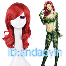 Cosplay Bright Red Hair Medium Curly Layered Batman Poison Ivy Wig Wigs