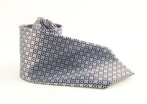 Brioni Men's Steel Blue Burgundy Print Silk Tie