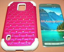Dual layer hybrid case for Samsung Galaxy S5 Active G870A, Magenta Bli