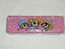 POWERPUFF GIRLS~ PINK   1- METAL PENCIL CASE ,BUBBLES,BUTTERCUP,BLOSSOM  3+AND
