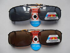 POLARIZED 100% UV PROTECTED BLACK BROWN CLIP ON SUNGLASSES IDEAL FOR FISHING ETC