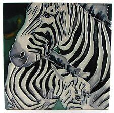 "Africa Wildlife * Zoo Ceramic Art Tile ""Zebra"" 8x8 Wall Desk Tabletop Accents"