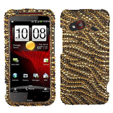 For HTC Droid Incredible 4G LTE Crystal Diamond BLING Case Phone Cover Tiger