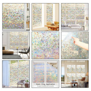 Static Glass Sticker Colorful ice flowers Home Room Privacy Window Glass Film