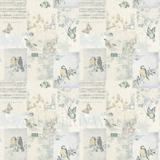 Miniatura Per Casa Delle Bambole Blu Pallido Uccelli E Farfalla Carta Da Parati