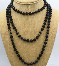 AA 50 Inch Fashion 8mm Round Black Onyx Gemstone Bead Necklace