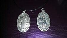 Large St Benedict necklace charm Catholic Saint Vatican City medal medallion