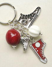 Keyring Bag Charm CANVAS SHOE BOOT Red White Silver Painted Enamel  KCJ1781