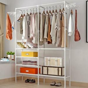 Heavy Duty Metal Closet Organizer Wardrobe Shelves System Clothes Storage Rack