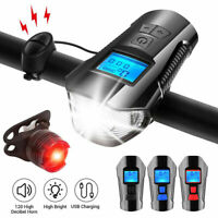 LED Cycle Headlight USB Rechargeable Front Light with Bike Speedometer Odometer