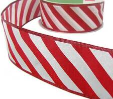 5 Yd Christmas Red White Candy Cane Striped Iridescent Glitter Wired Ribbon 2 1/