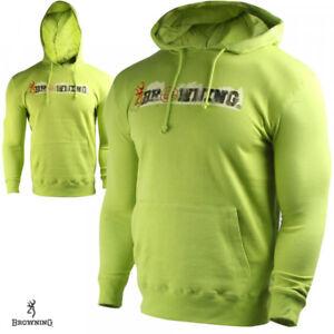 Browning YOUTH LARGE Burke Sweatshirt Dark Citron with logo Mossy Oak Camo Boys