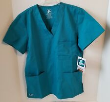 Adar Universal Unisex Medical Nursing Scrub Top 3 Pockets V-Neck Teal XXS NWT
