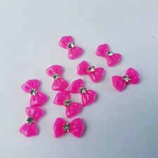 Nail Technician Pink 3D Nail Art Bows with Diamante (10 Pack)