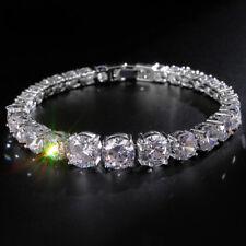 b39976231 18K White Gold Graduated Tennis Bracelet made w/ Swarovski Crystal Diamond  Stone