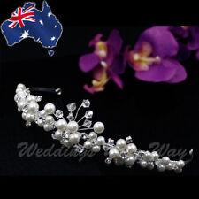 Pearl & Diamante Bridal Tiara Jewellery Veil Headband Formal Hair Accessory TI-1