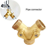 3/4Inch Garden Hose Splitter Brass Y Shape 2 Way Valve Faucet Taps Water Pipe