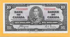 1937 CANADIAN 10 DOLLAR BILL K/T5313009 VERY NICE CRISP (SMALL FOLD IN CORNER)
