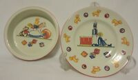 "Tiffany & Co ""Tiffany Toys"" Children's Bowl Plate Set 2 Drum Rocking Horse Bear"