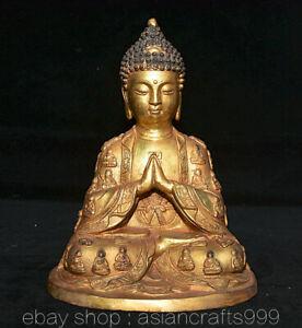 "8""Alter Tibet Buddhismus Kupfer vergoldet Shakyamuni Amitabha Buddha Robe Statue"