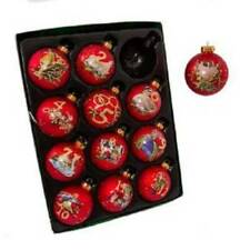 "Kurt Adler Christmas Ornament 12 Days Of Christmas Red Glass Balls 2.5"" 65MM"