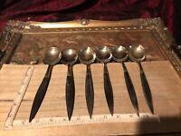 6 Antique Vintage Silverplate Flatware Wood Handles, 6 Spoons