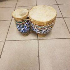 Afrikanische Doppel Bongo Trommel Ton/Keramik