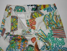Trina Turk White Multi Colored Floral Dress Pants Size 2