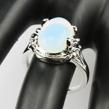 Opal Gemstone Fashion New  Jewelry 925 Silver Men Women Ring Size 6