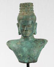 More details for antique khmer style bronze vishnu torso statue - protector & preserver -24cm/10