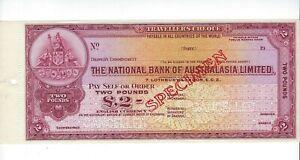 SPECIMEN NATIONAL BANK OF AUSTRALASIA LTD  2 POUNDS  LARGE FORMAT   UNC