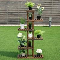 Natural Wooden Plant Stand Flower Pot Shelf Indoor Outdoor Planter Multi Tiers