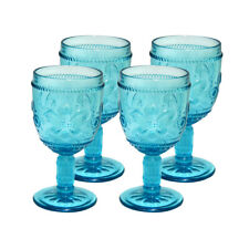 Fleur-De-Lys, Stemmed Wine Glass, Drinkware glass, cap 10 oz, Blue, set of 4
