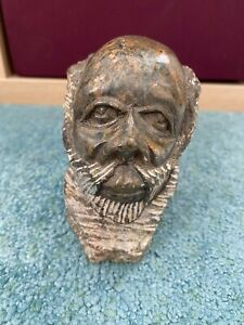 Hand Carved signed Stone African Head Bust