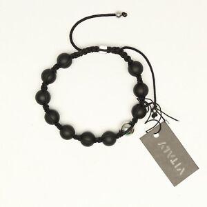 Vitaly Orbis Mens Bracelet Beaded Black Stainless Steel Nylon Size 8