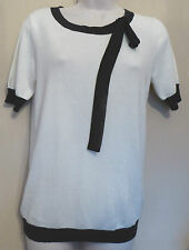 Oasis Small UK10 EU38 cream short-sleeved jumper with black trim/neck tie - new