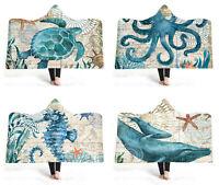 Mediterranean Sea Horse Turtle Octopus Whale Fleece Hooded Blanket Sofa Throw