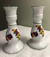 VINTAGE PORCELIAN PAIR of PWF~DELLA ROBBIA CANDLEHOLDERS