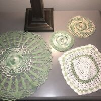 "Vintage Lot of 4 Hand Crocheted Doilies Green and Ecru  5"" to 13"" Rounds Granny"